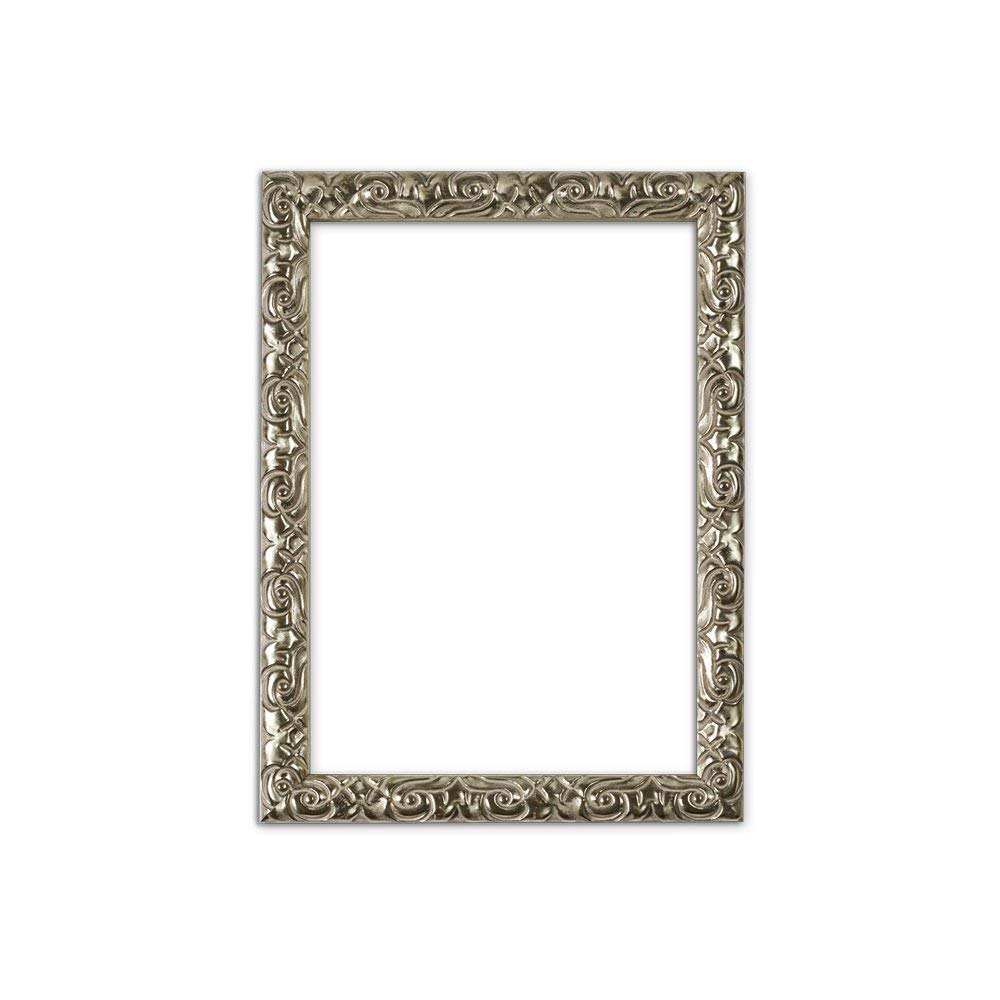 "Paintings Frames Antique Cushion Ornate Swept Picture/Poster/Photo Frame With An MDF Backing Board Ready To Hang Or Stand With Styrene Shatterproof Perspex Sheet 14""X11"" Silver"