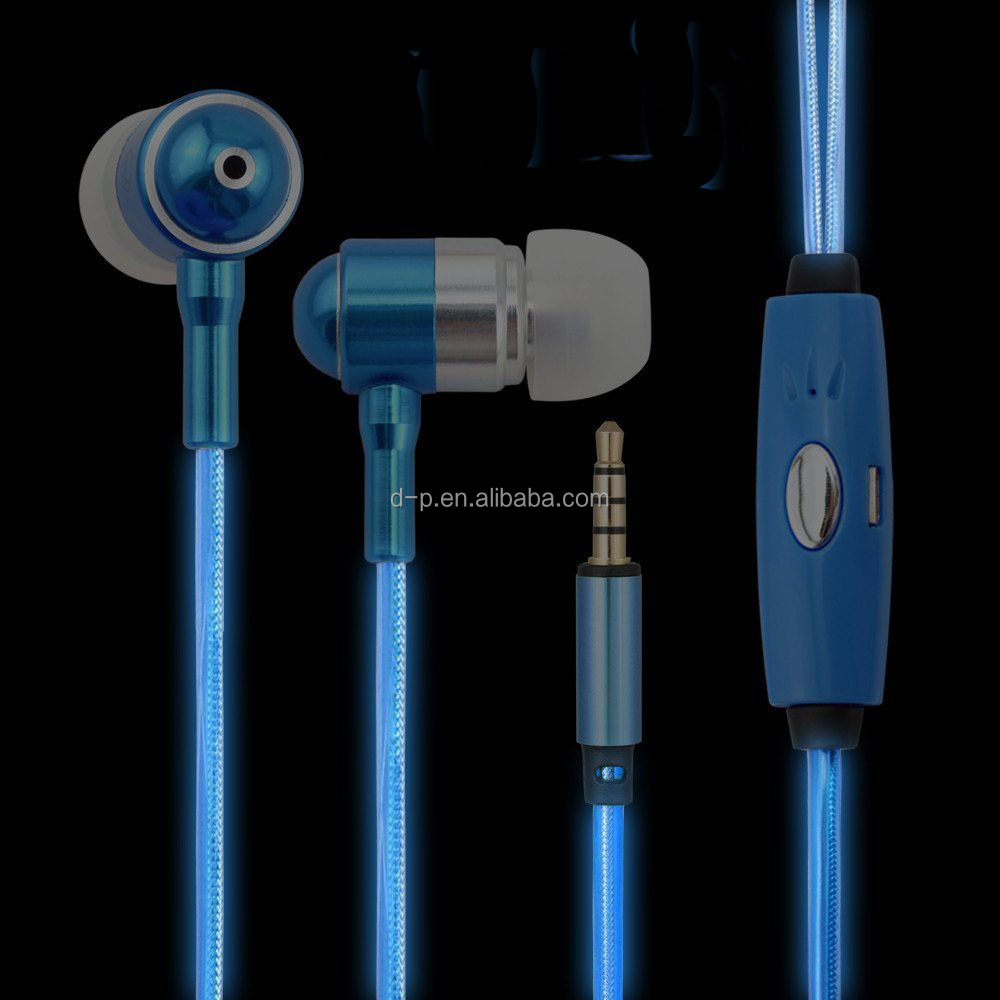 consumer <strong>electronics</strong> luminous light free sample earbuds EL LED earphone glowing headphones