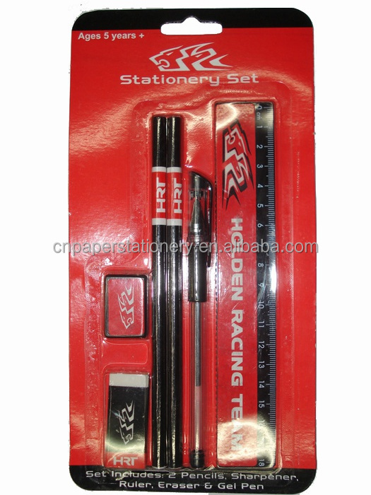 student stationery 6 pcs set pencil eraser sharpener ruler pen blister card packing cheap price