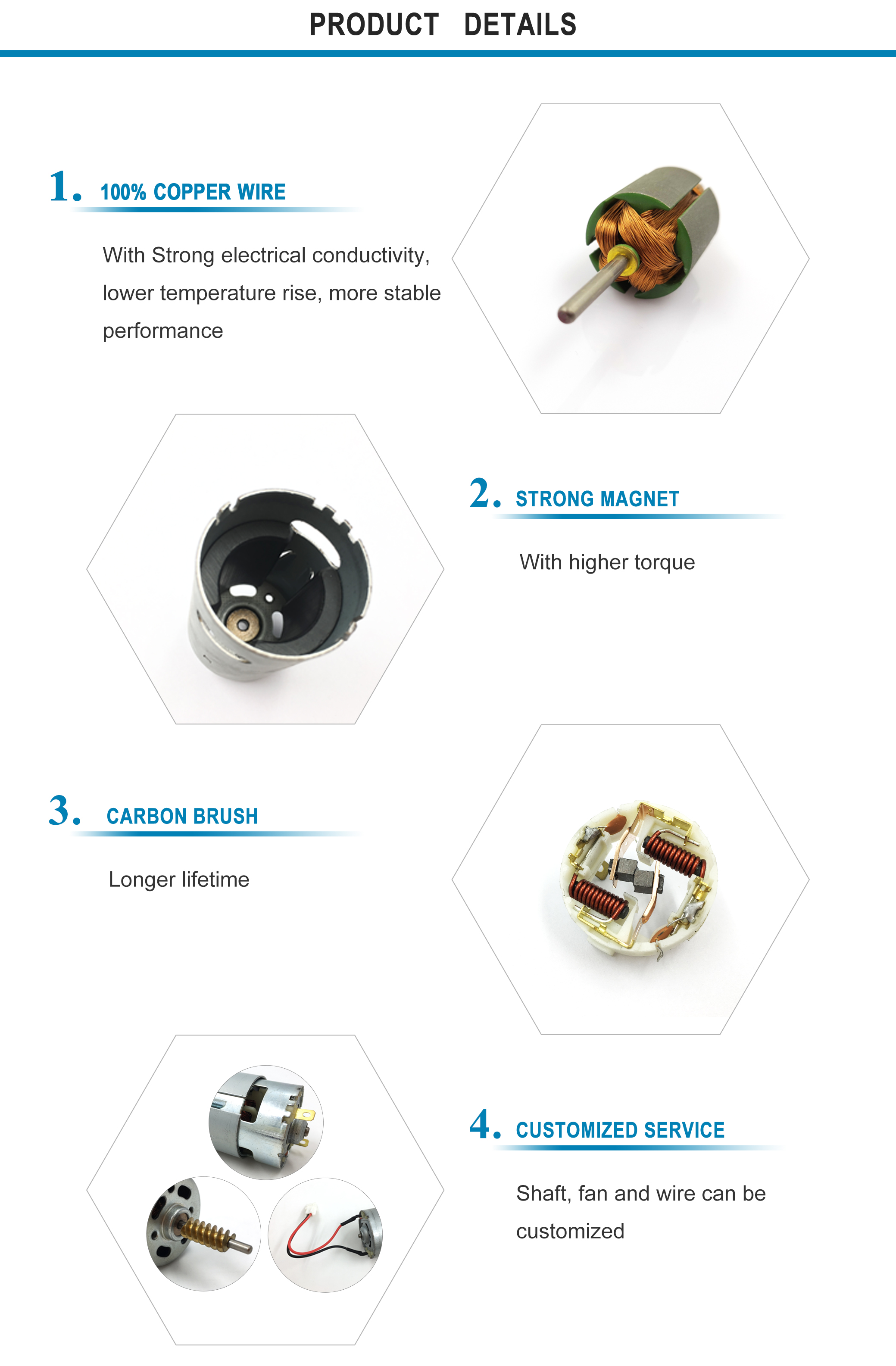 RS-775 high power high torque high speed dc motor, 12v 24v, 200W output, mini dc motor for power tools