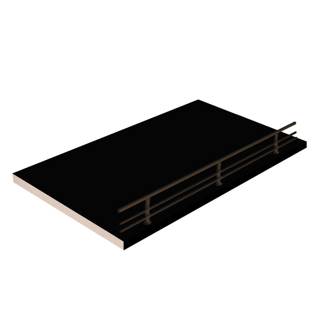 """20""""W x 14""""L, black Closet Shelves with dark oil-rubbed bronze shoe fence and PVC Edge Banding in front - CHOOSE YOUR SIZE - 2 Pack"""
