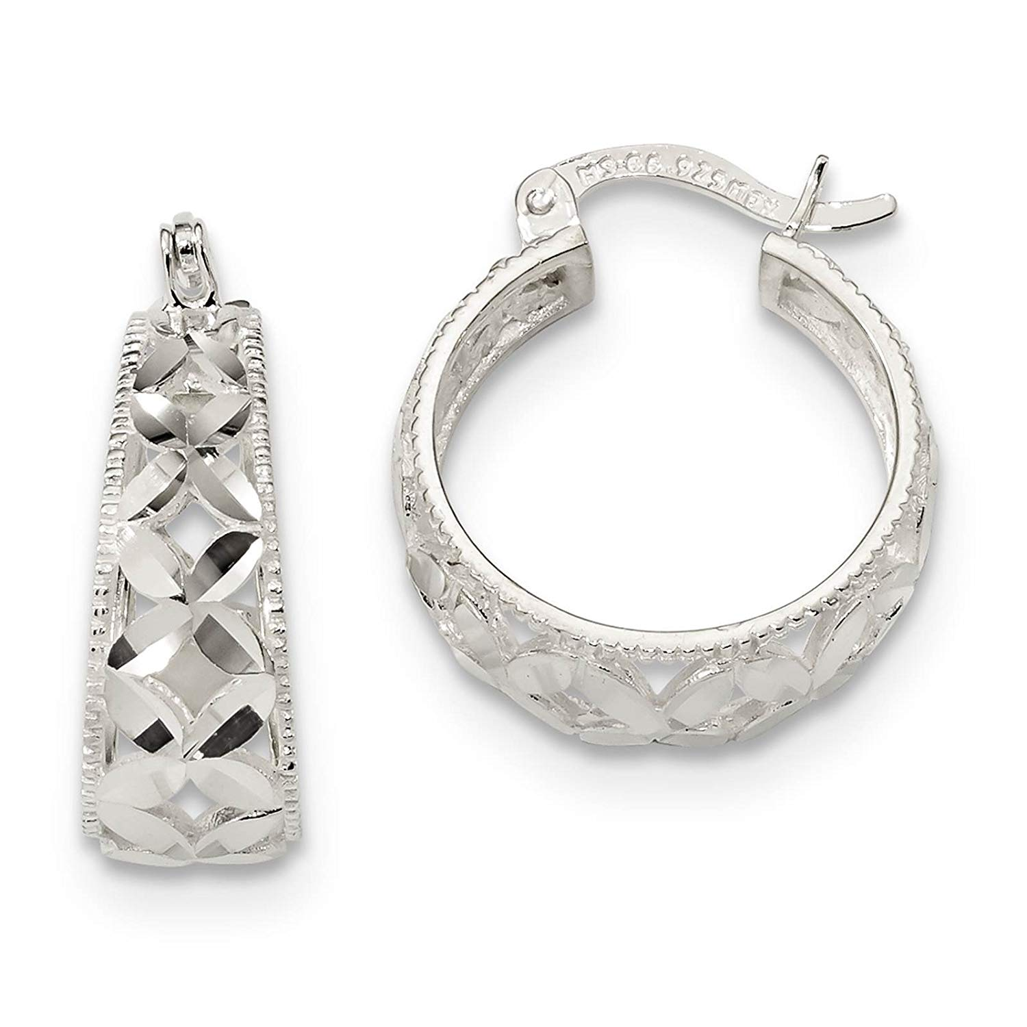 .925 Sterling Silver Polished & Diamond-cut Hoop Earrings