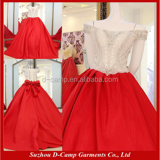 WD069 Luxury hand beaded red and white wedding dresses gowns