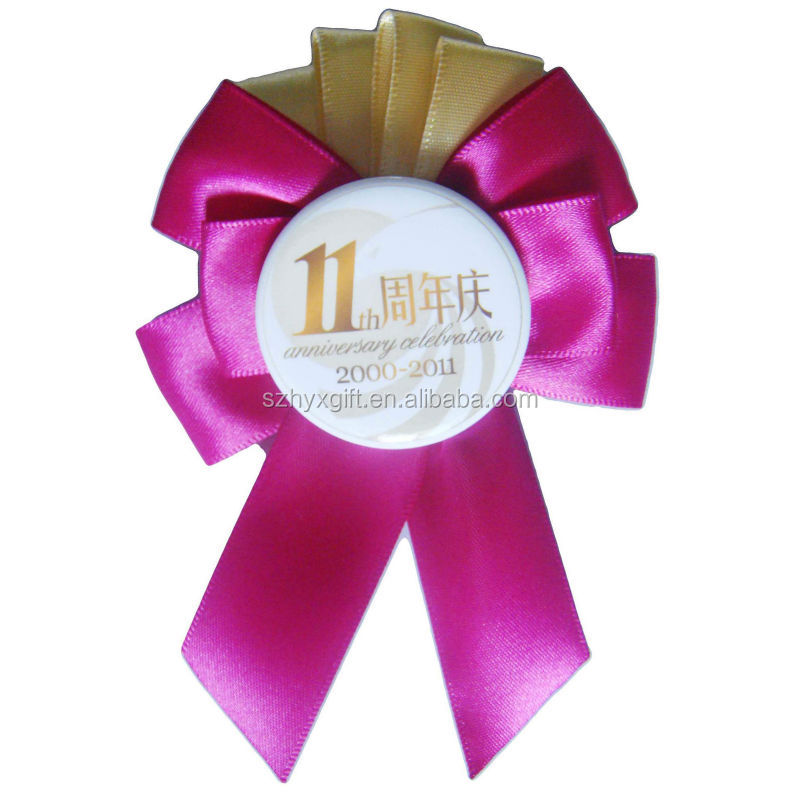 Anniversary Custom Design Quality Factory Handwork Award Ribbons  Rosette,Pin Back Button Badge Ribbons,Promotion Ribbon Rosette - Buy Award  Ribbon