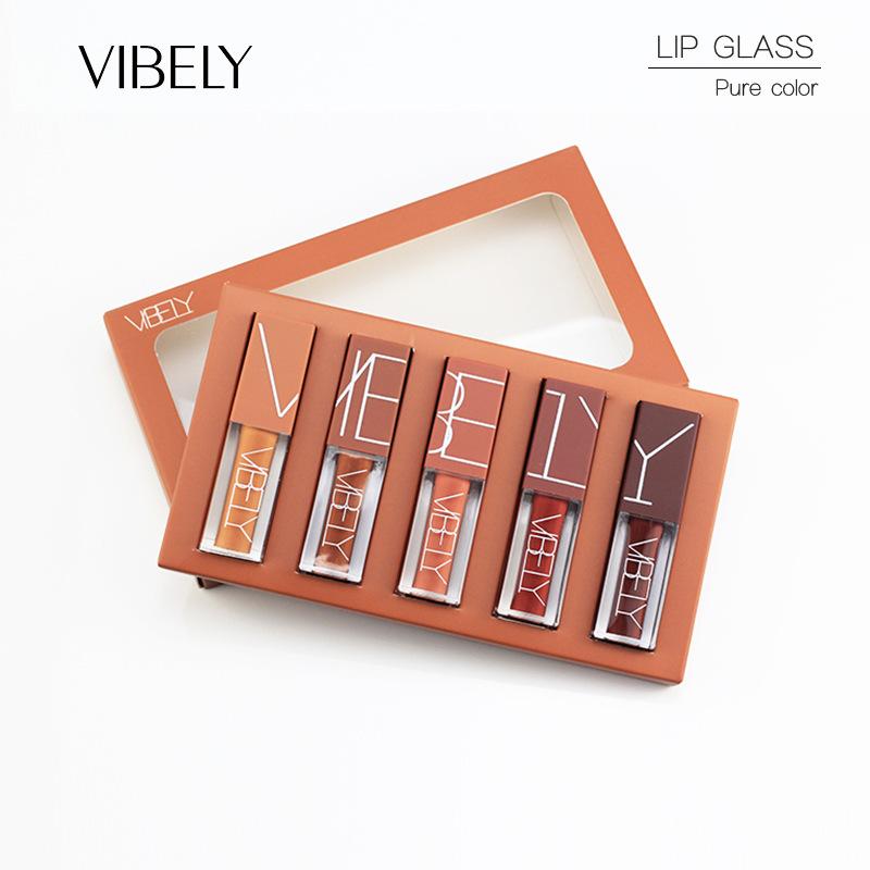 Hot product lip gloss lipsticks set 5 colors matte waterproof lipgloss
