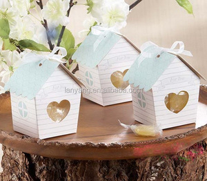 Nest Bird House Bomboniere Boxes Wedding Shower Ribbon Candy Gifts Wrap Boxes