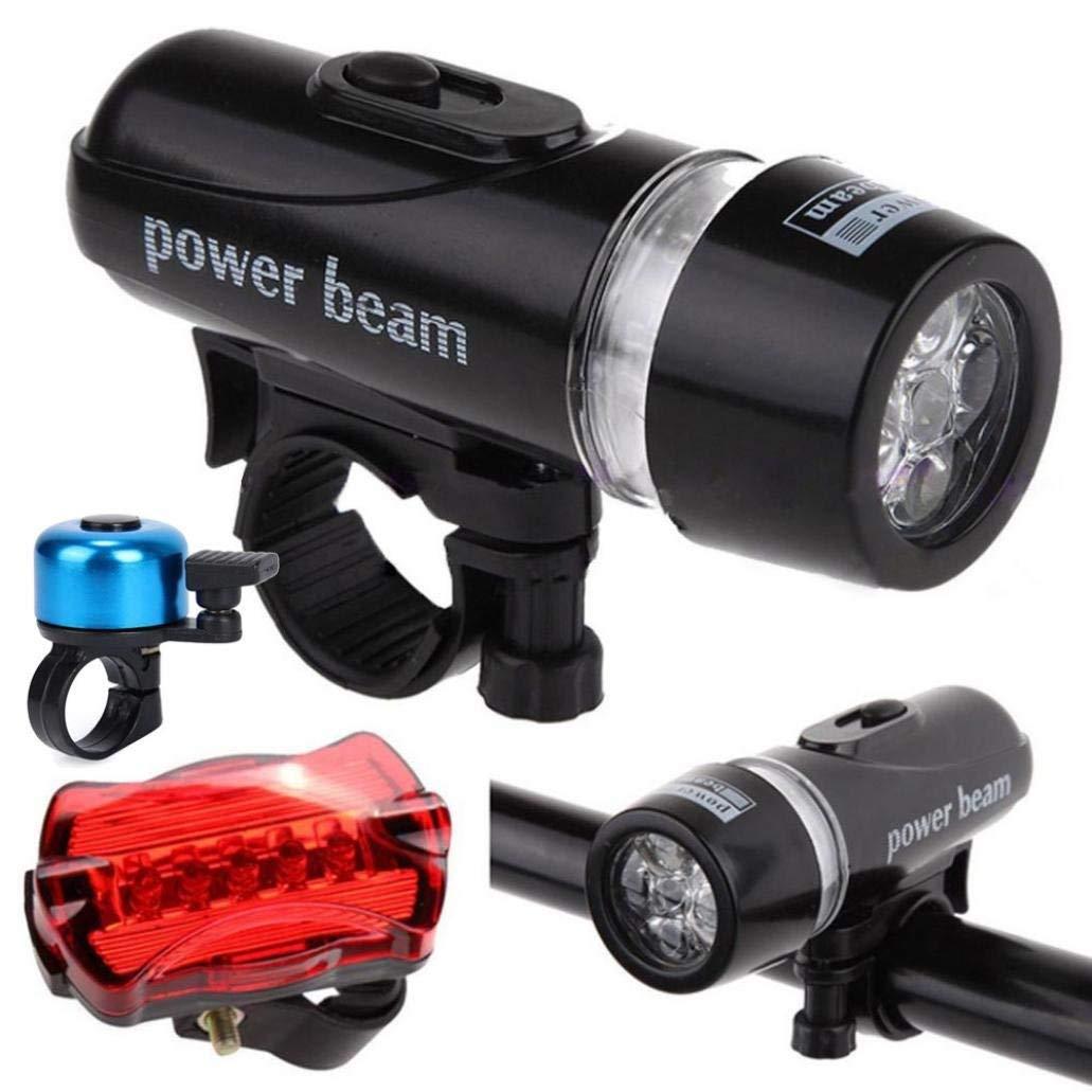 Quaanti 1Set Bicycle Headlight +Tail Light Waterproof Lamp Bike Bicycle Front 5 LED Head Light + Rear Safety Flashlight Accessories (B)