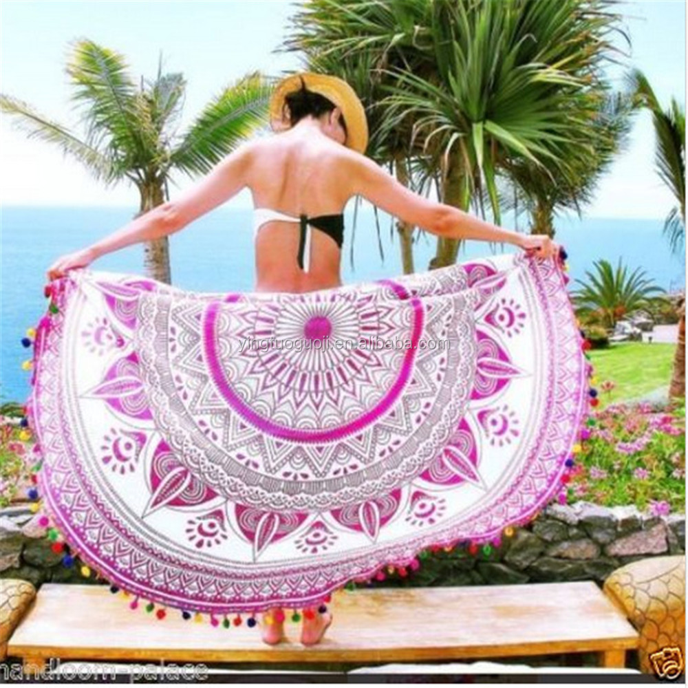 100% cotton watermelon shaped round beach towel mandala
