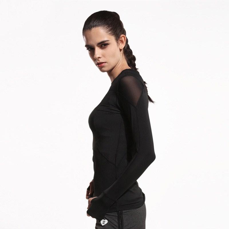 Women-Long-Sleeve-T-shirt-Stitching-Mesh