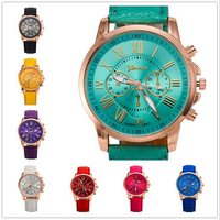 New 2016 Watch Famous Brand Geneva Cheap Unisex Watch Men Wristwatches Women Wristwatch Fashion Wrist Leather Strap Quartz Watch