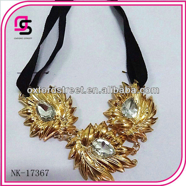 2013 Fashion wax string with gold alloy pendant Evening bib necklace