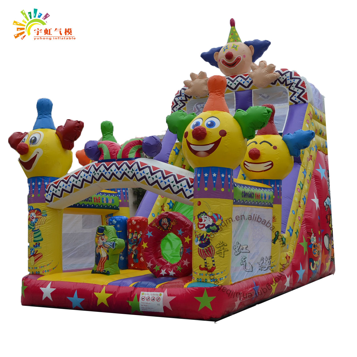 Happy clowns design colorful indoor inflatable bounce for kids with 0.55mm plato pvc