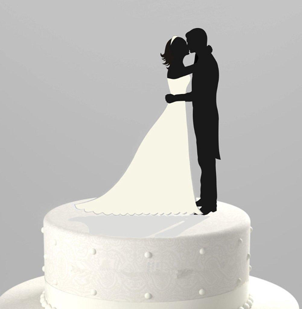 Buy Kissing Bride & Groom Silhouette Bridal White Dress Wedding ...
