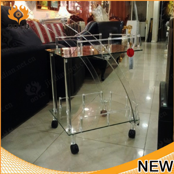 fashion 2 tie transparent acrylic food serving trolley