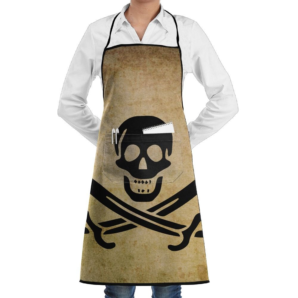 Pirate Skull Cross Swords Flag Apron Lace Unisex Mens Womens Chef Adjustable Polyester Long Full Black Cooking Kitchen Aprons Bib With Pockets For Restaurant Baking Crafting Gardening BBQ Grill