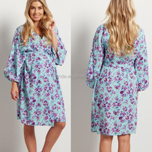 Sexy Nighty Online Shopping 100% Polyester Open Front Tie Closure Mint Purple Floral Delivery/Nursing Robe In Hospital