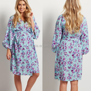 bc5a88a6fcb20 Sexy Nighty Online Shopping 100% Polyester Open Front Tie Closure Mint  Purple Floral Delivery/