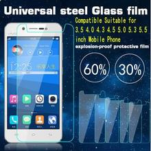 10 pcs/lot New Premium 9H 2.5D Universal Tempered Glass Screen Protector Film for 3.5 4.0 4.3 4.5 4.7 5.0 5.5 inch mobile phone