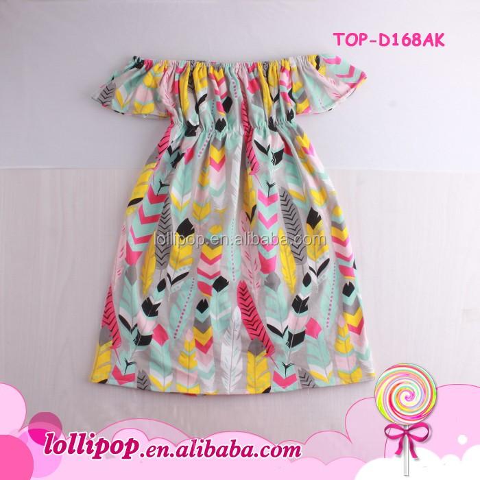 81d65b90e Feather Printed Pattern Off The Shoulder Kids Dress Children Frocks ...