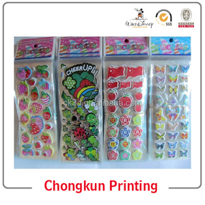 Wholesale china room decor custom 3d sponge bubble eva foam sticker, custom foam cartoon, kids puffy sticker