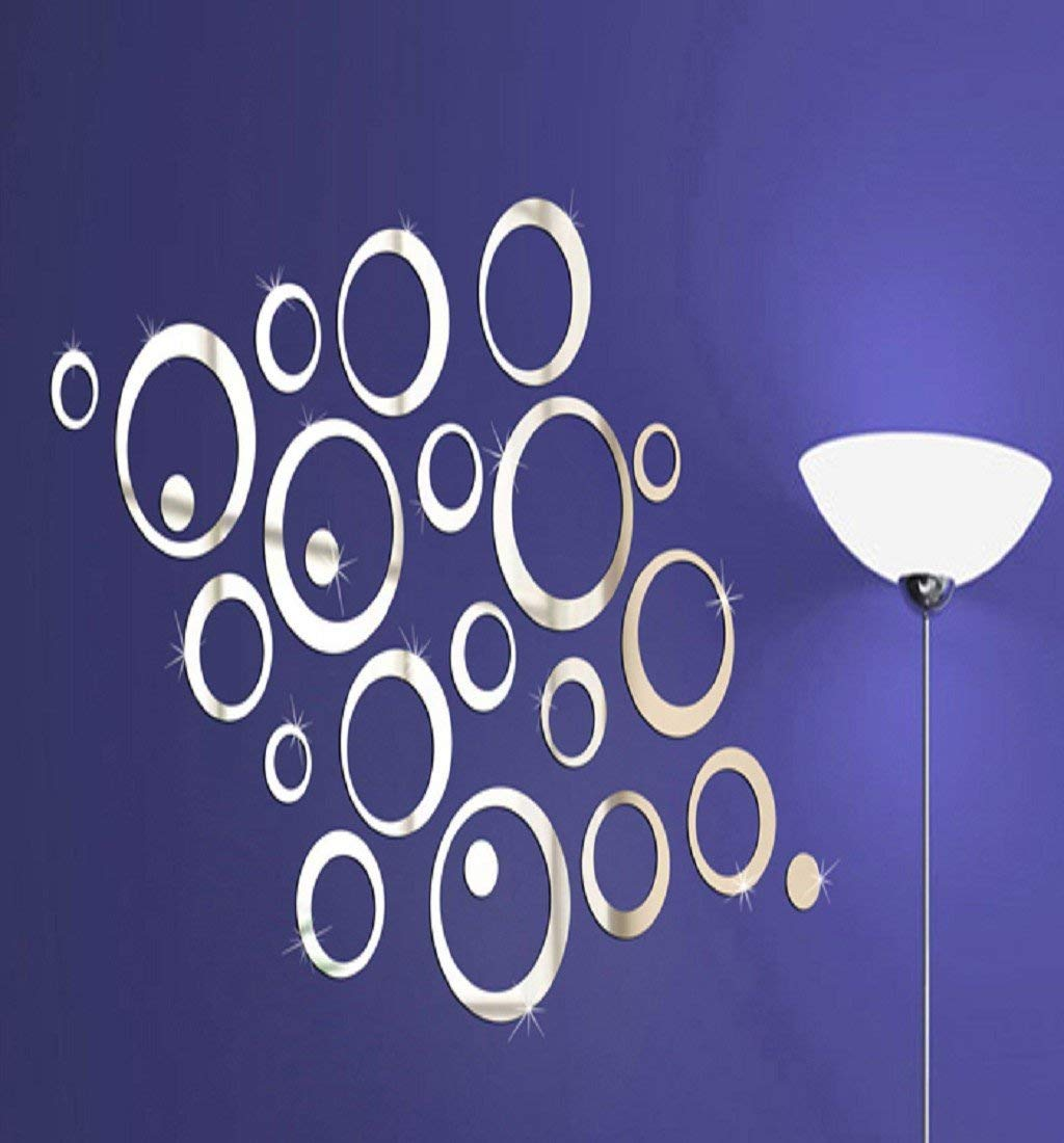 PHOTNO Circles Mirror Style Removable Decal Vinyl Art Wall Sticker Home Decor (Silver)
