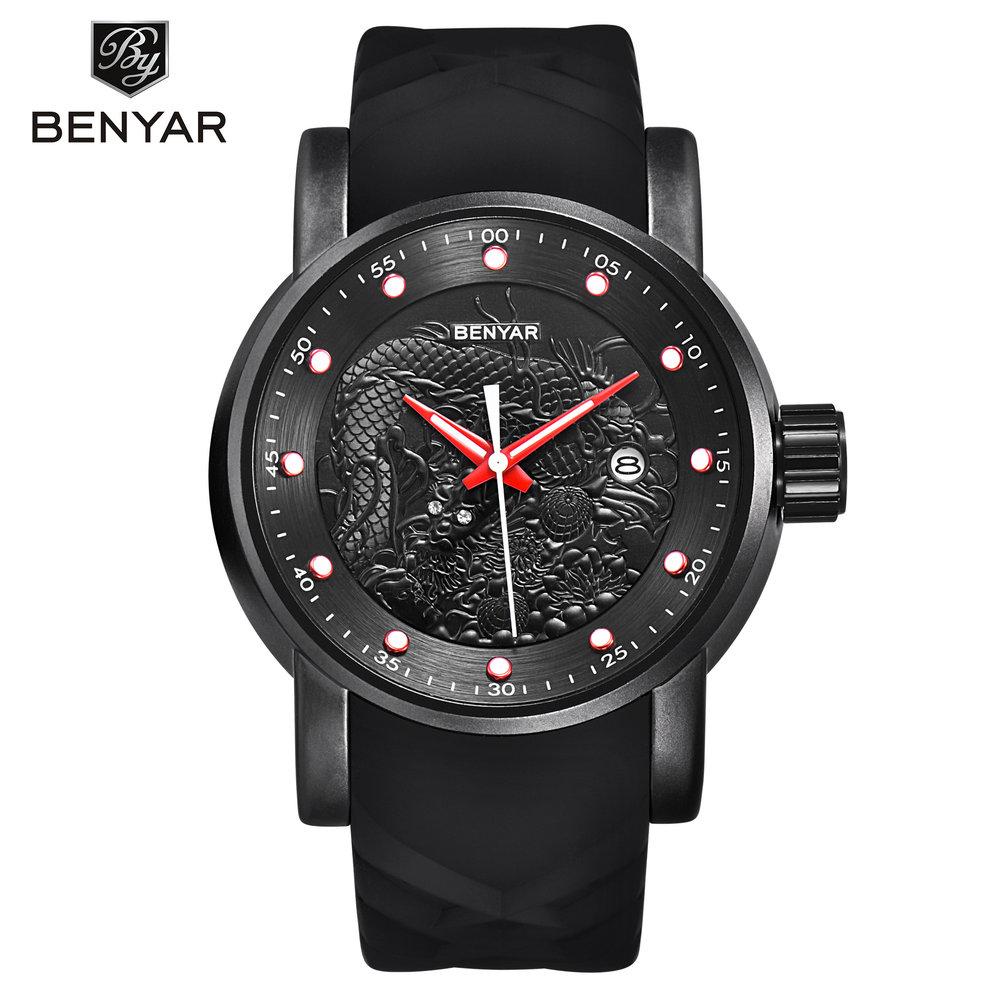 BENYAR 5115 Men's Quartz Watch 30M Waterproof Silicone Strap Fashion Watch Relogio Masculino фото