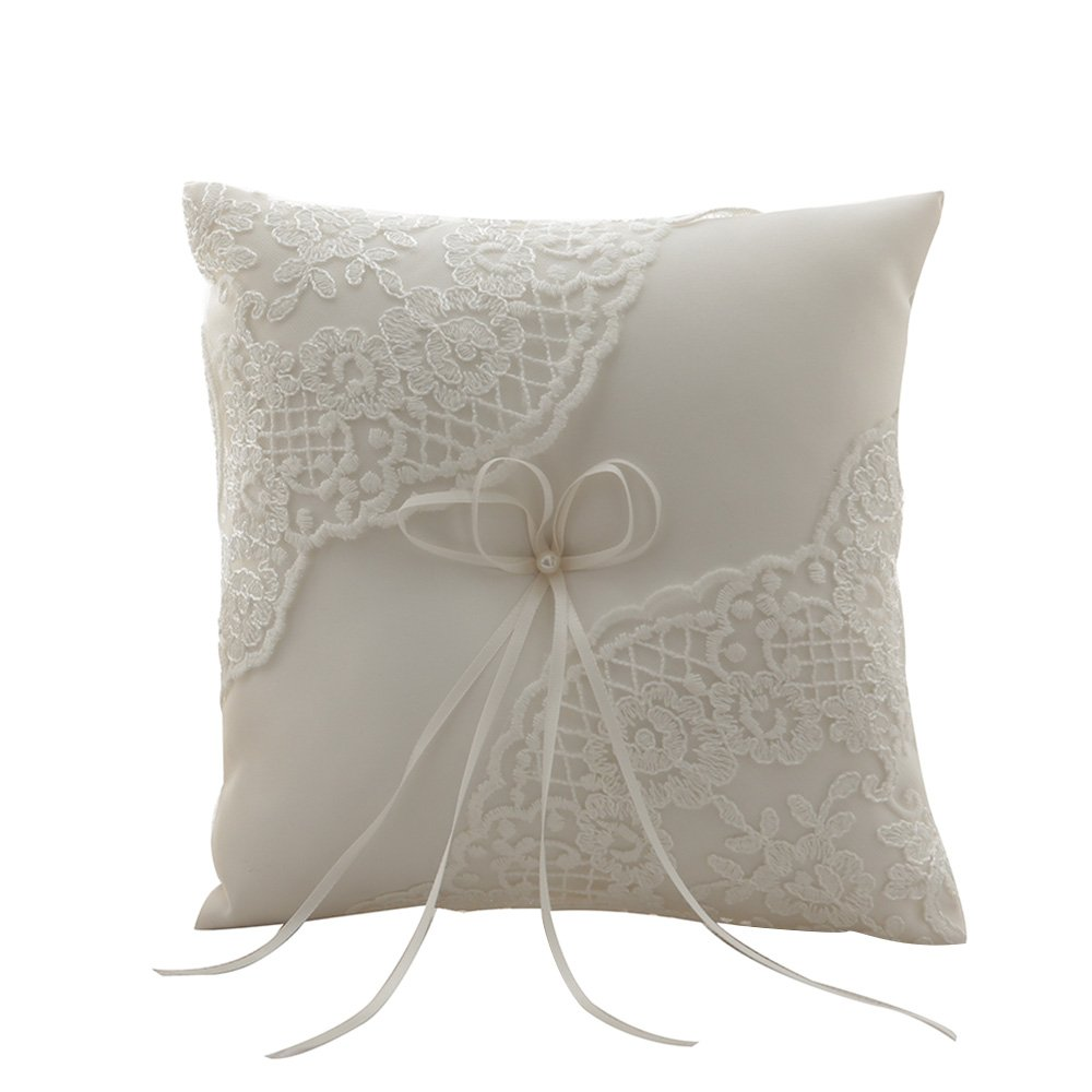 Amajoy Ivory Satin and Lace Wedding Ring Pillow Cushion Embroider Flower with Bow , 8 Inch (21cmx 21cm) Ring Bearer for Beach Wedding, Wedding ceremony