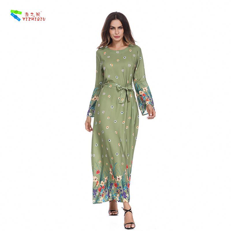 YIZHIQIU Digital Print Trumpet Sleeve Tunic Waist Slim Muslim Women Dress