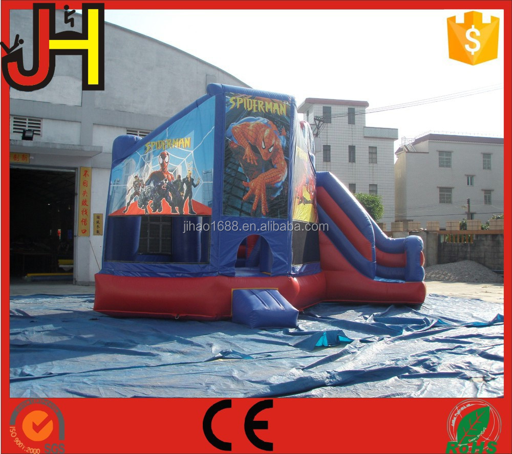 Factory Outlet Inflatable Spider-Man Theme Slide Castle Bounce For Sale