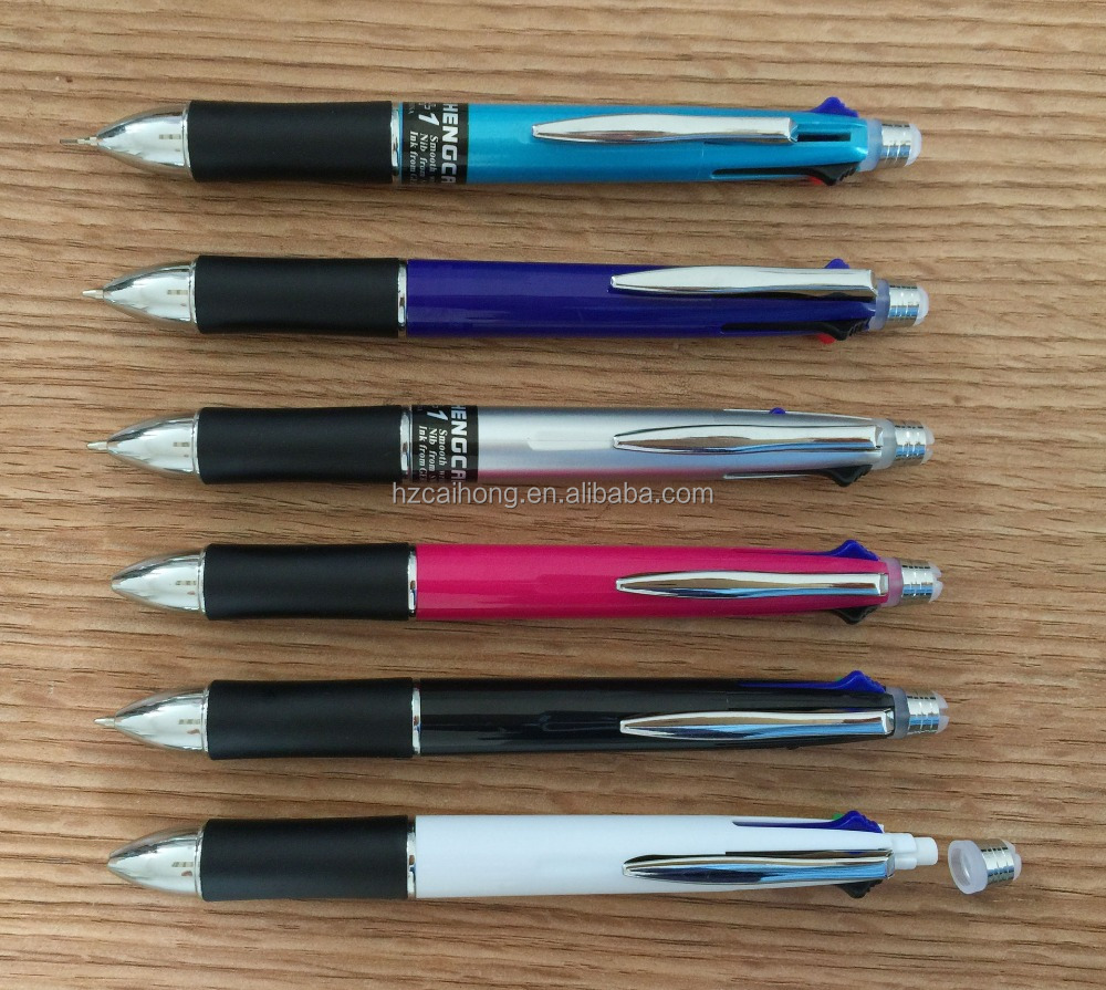 new design ballpoint pen ,4colors in one pen,ballpoint pen with pencil+eraser new founction CH-7521
