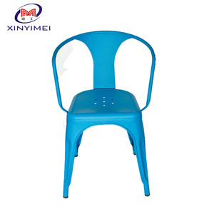 Popular colorful restaurant dining metal armrest chair