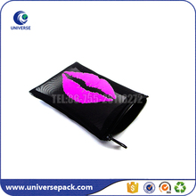Hot Export Black Zipper Mesh Lipstick Pouches With Mirror