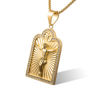 Custom Ice Out Cz Charm 18K Gold Plated Stainless Steel Jesus Head Pendant