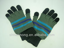 winter custom fashion navy blue knitted gloves