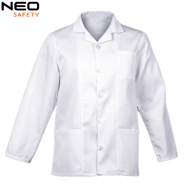 Acid resistant coat designs white lab coat