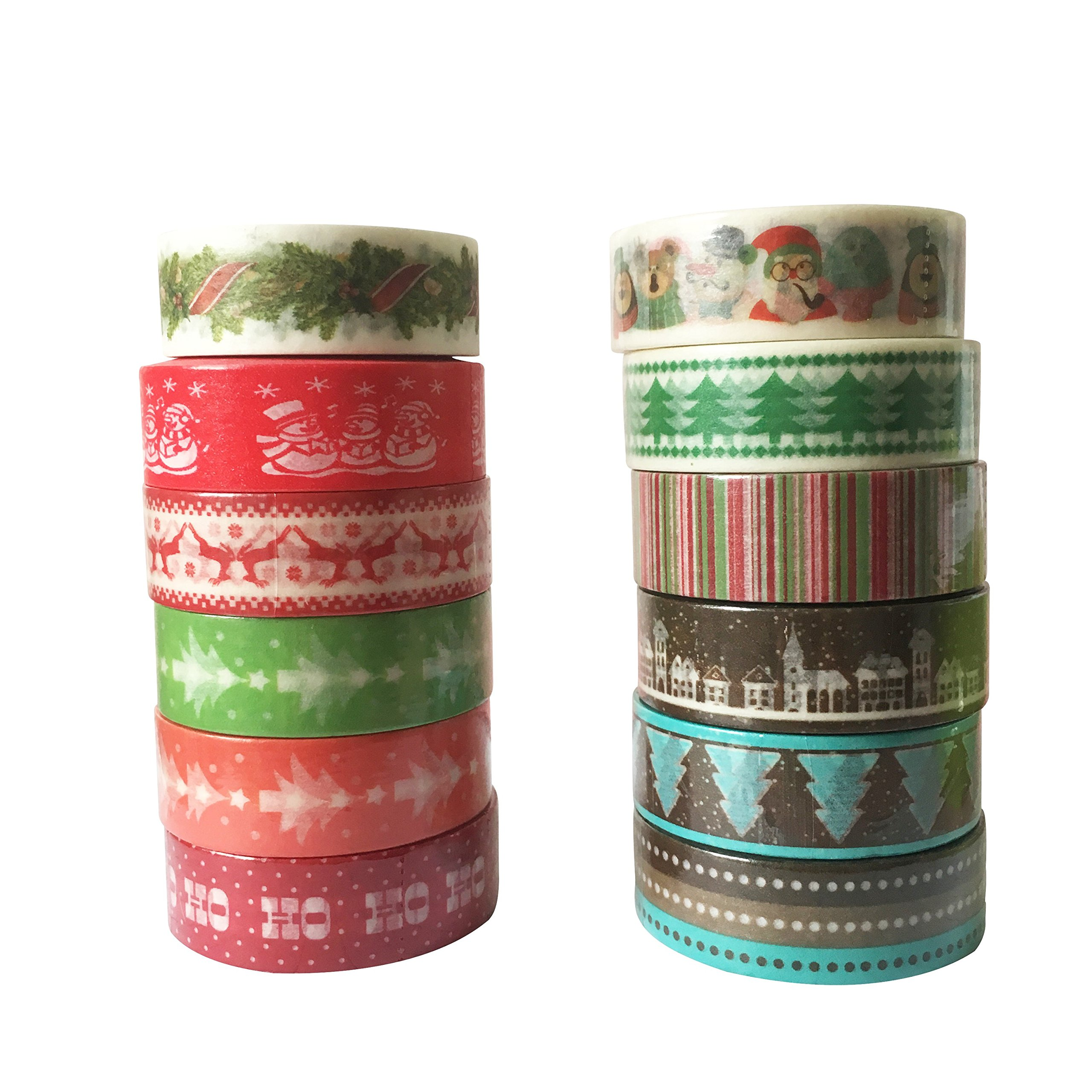 12 Rolls Washi Tape Merry Christmas Holiday Solid Set 10m / 32.8feet Long, 15mm Wide, Premium Chevron, Dear, Tree, Black, White, Dots, Lines Diy Washi Masking Tape, Scrapbooking Craft & Hobby Supplies