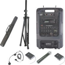 Sound Projections Voice Machine Portable PA System w/ 90-Channel Wireless Package (MP3 Player and Headset Mic) SPJ-VM1-HBM90-MP3