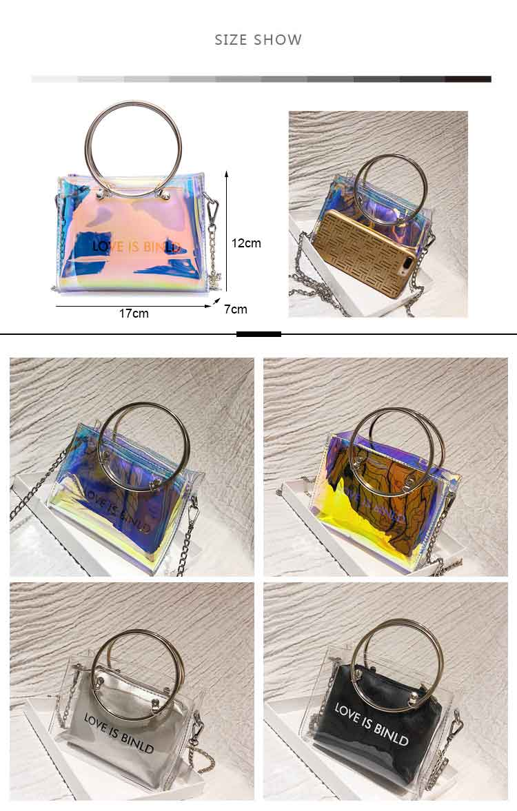Wholesale glitter crossbody rainbow holographic girls purse clear transparent pvc women jelly purse