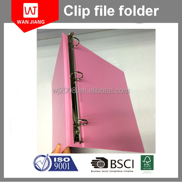 PVC plastic file folder binder with 3 ring/ 3 hole presentation folder with PP cover