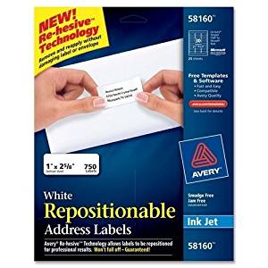 """Avery Consumer Products Mailing Labels,Address,Reposition able,1""""x2-5/8"""",750/BX,WE PROD-ID : 976790"""