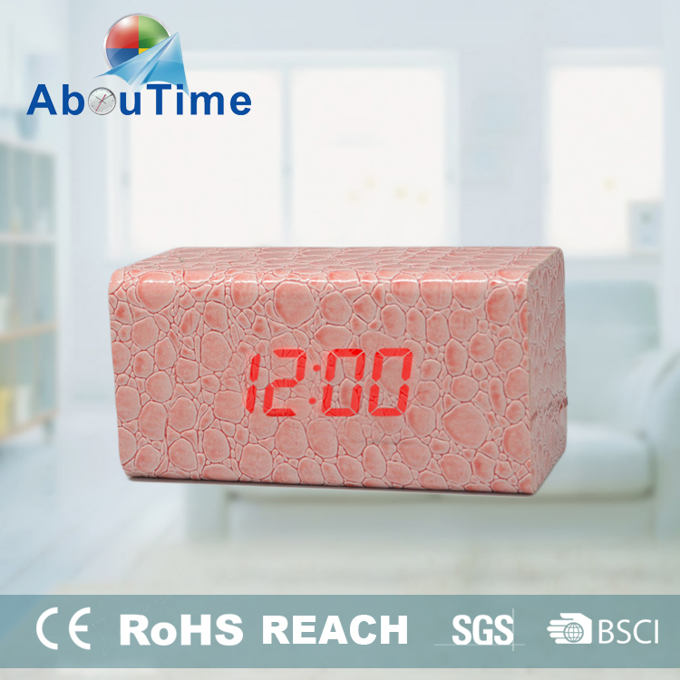 PU Leather Covered Rectangle Wooden Table Alarm Clock for Sale