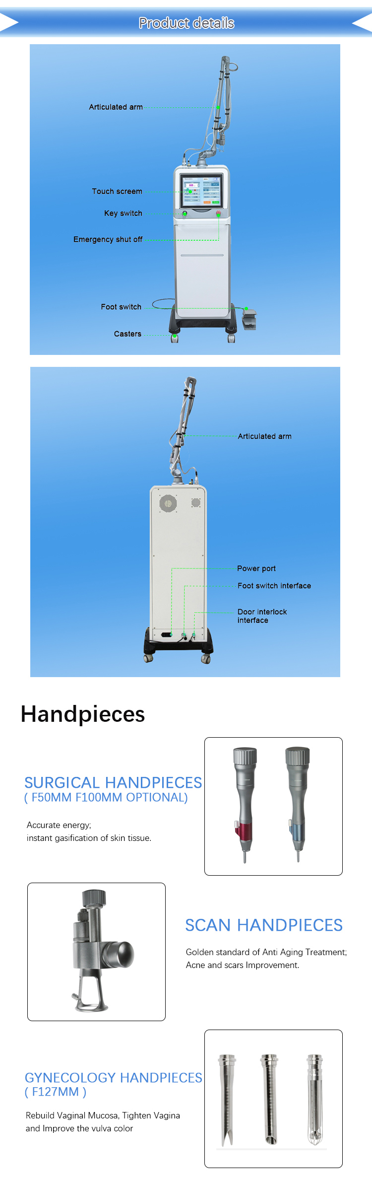 2019 new ideas stationary laser surgery machine 10600nm fractional co2 vaginal tightening laser machine
