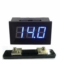 Digital DC 0-50A Ammeter Amp Panel Gauge Current Meter Four Wires 3 Digit Blue LED Display + 75mV Shunt Resistor