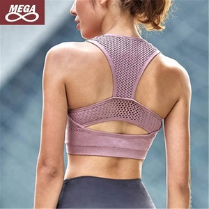 Shockproof High Impact Pink Sports Women Net Yarn Yoga Breathable Fitness Bra