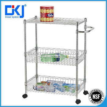 3 Tier Chrome Folding Utility Wire Shelving/kitchen Cart With Wheels