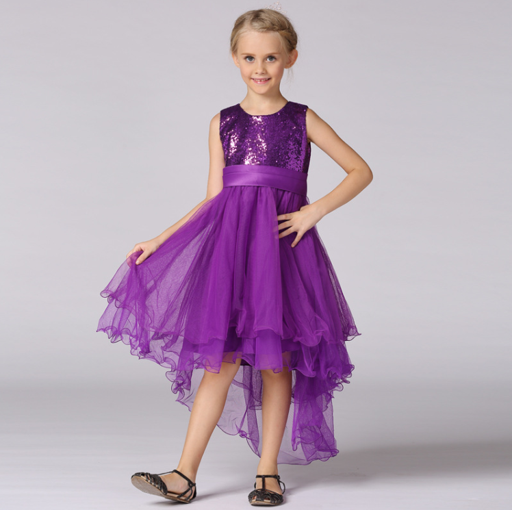 2016 <strong>Fashion</strong> <strong>Kids</strong> Purple Sequins Lace Long Party Dress Of Girls Pictures