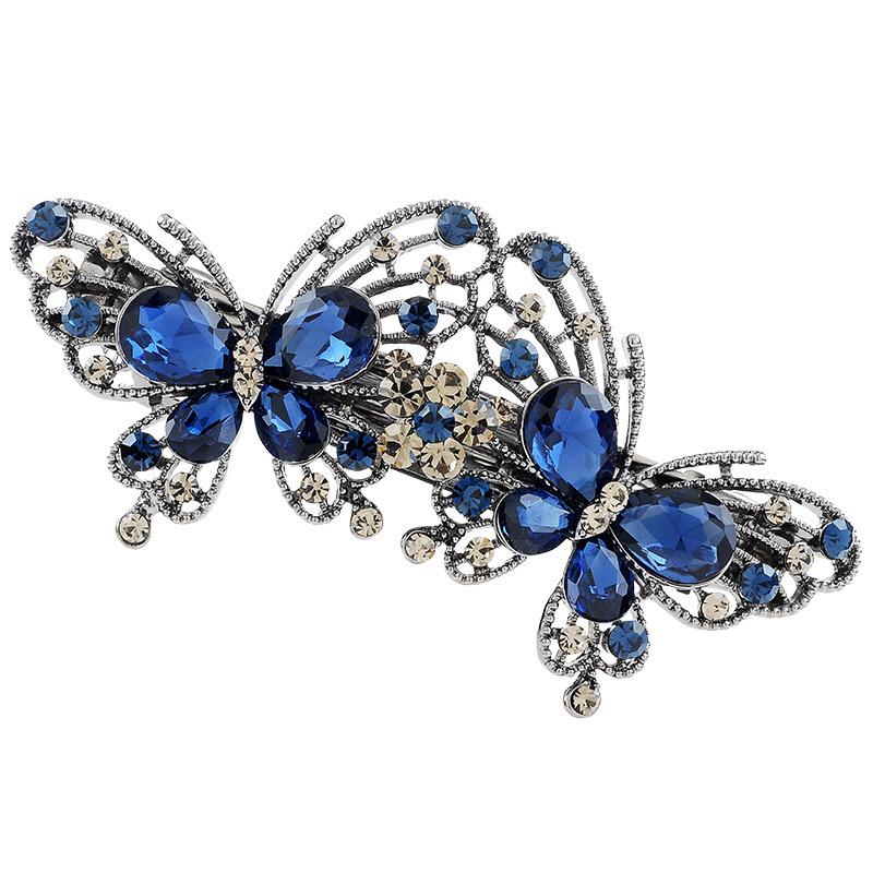 f66de6b5f جديد ريترو ستايل الأزرق روز الأحمر دبوس فراشة على شكل الماس المرأة  اكسسوارات للشعر