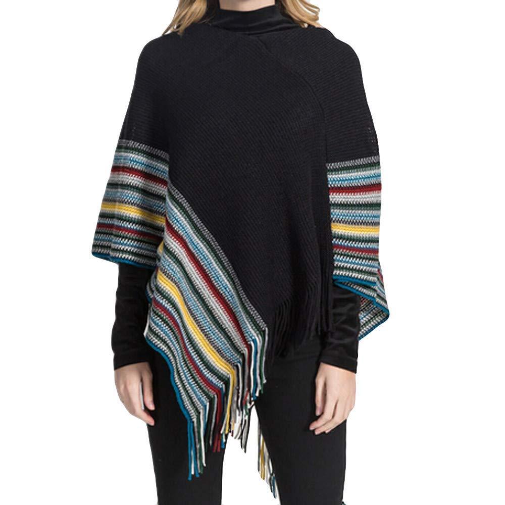 Clearance!Women Winter Large Soft Tassel Blanket Shawl Oversized Striped Cardigan Coat Wrap Plaid Cozy Poncho Capes