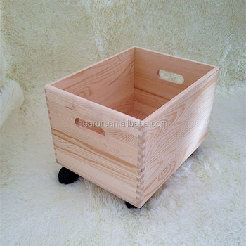 Large Wooden Storage Chest Box With Wheels