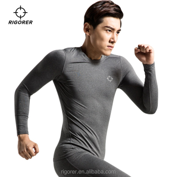 Wholesale Mens Gym Wear Fitness Clothing Sports Compression Shirt with Fleece